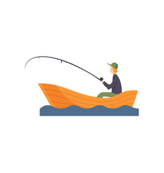 Fisherman sitting on boat with fishing rod in his vector