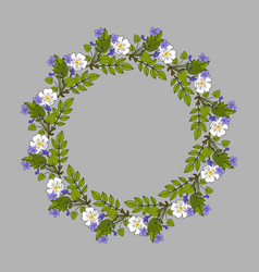 floral wreath with violet and rose vector image