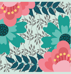 flowers leaves natural foliage floral background vector image