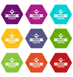forest camping icons set 9 vector image