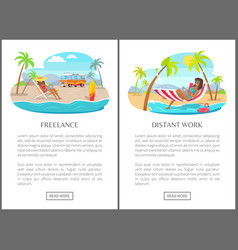 Freelance and distant work commercial banners set vector