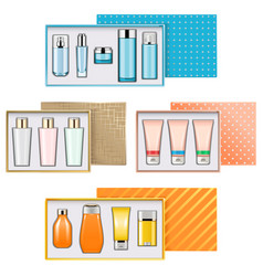 Gift boxes with cosmetics set 3 vector