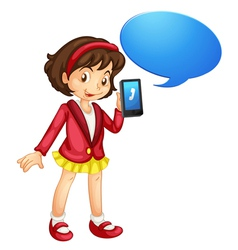 Girl with cell phone vector