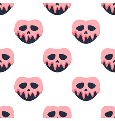 halloween skull seamless pattern on white vector image