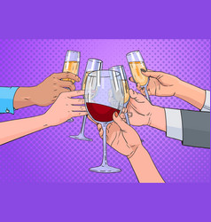 Hands group clinking glass of champagne and red vector