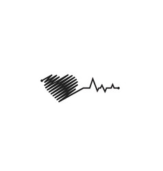 heart pulse black and white colors heartbeat vector image