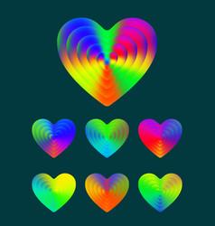 heart symbol colorful gradient texture hearts vector image