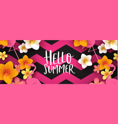 holiday summer web banner 3d tropical flowers vector image