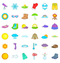 Hot weather icons set cartoon style vector