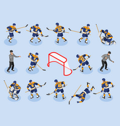ice hokey isometric icons vector image