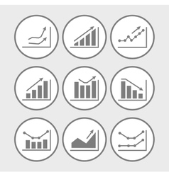 Icons with charts and graphs vector