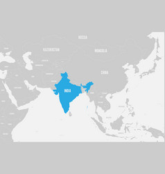 India blue marked in political map of southern vector