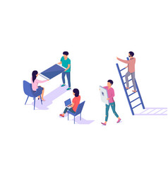 isometric 3d young man and woman characters vector image