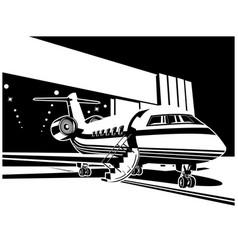 Jet aircraft near hangar vector