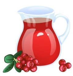 Jug with currant compote Cartoon style vector image