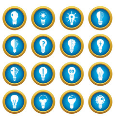 lamp logo icons blue circle set vector image