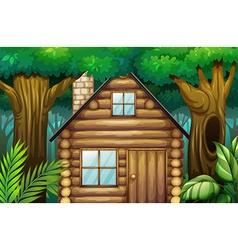 Little hut in woods vector