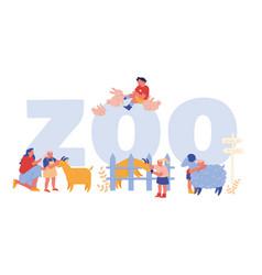 Little kids visit farming zoo with parents concept vector