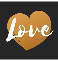 Love inscription with hand drawn heart vector image