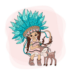 Lovely pocahontas indians princess vector