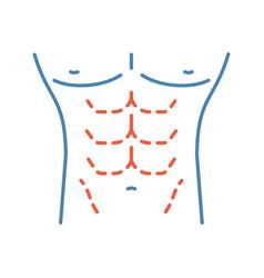 Male body contouring surgery color icon vector