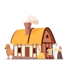 Medieval peasant household cartoon vector