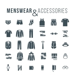 Men fashion clothes and accessories flat outline vector