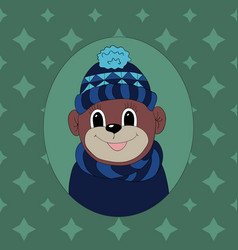 Monkey in a dark blue cap and scarf print for vector