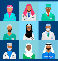 Muslim doctor set vector