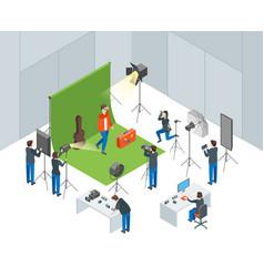 photo studio interior with operators shooting vector image