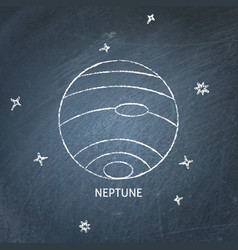 Planet neptune icon on chalkboard vector