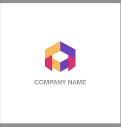 polygon shape colored logo vector image