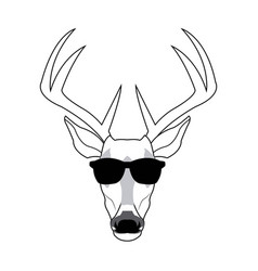 Portrait deer hipster style glasses vector