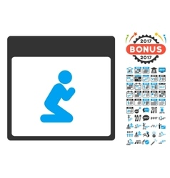 Pray Person Calendar Page Flat Icon With vector