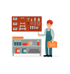 Professional auto mechanic in uniform with toolbox vector