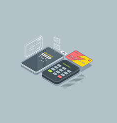 purchase via pos terminal pay credit card vector image