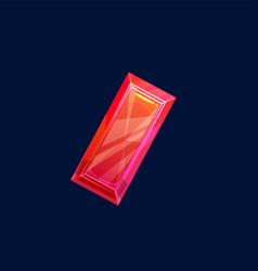 Red magic crystal gem or precious rock icon vector