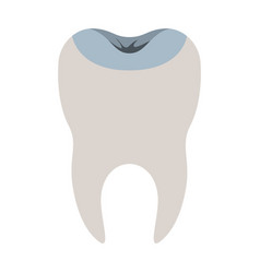 Restored tooth with root in colorful silhouette vector