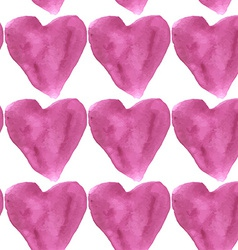 Seamless pattern purple watercolor hearts on a vector image