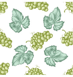 seamless pattern with hand drawn pastel grapes vector image