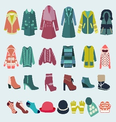 set icon of winter clothes and accessories vector image