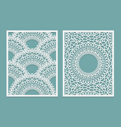 set of laser cut pattern template wood or paper vector image