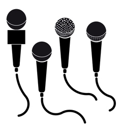 Set of microphones black silhouette isolated on vector