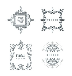 Set of Minimal Line Art Geometric Vintage Labels vector