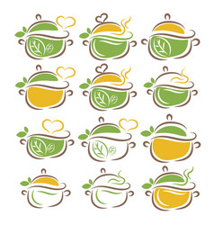 Set pans in linear drawing style with leaves vector