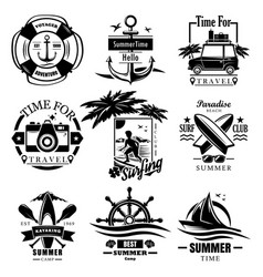 set summer time vintage logos labels vector image
