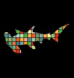 Shark hammerhead predator nautical color vector