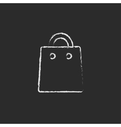 Shopping bag icon drawn in chalk vector image