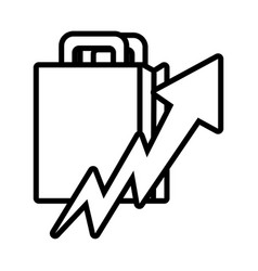 Shopping bag with arrow up line style vector