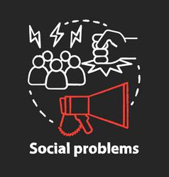Social problems chalk concept icon violence vector